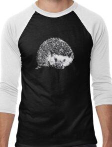 White Hedgehog Scratchboard Men's Baseball ¾ T-Shirt