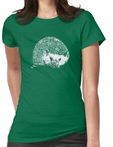 White Hedgehog Scratchboard Womens Fitted T-Shirt