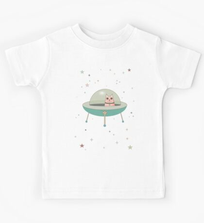 CAT IN SPACE SHIP Kids Tee