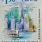 1999 Victoria Harbour Hong Kong Stamp by DrBillCreations