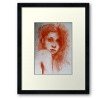ROMANTIC BEAUTY / Woman Portrait in Sepia Brown Framed Print