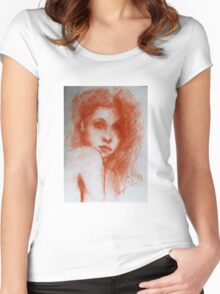 ROMANTIC BEAUTY / Woman Portrait in Sepia Brown Women's Fitted Scoop T-Shirt