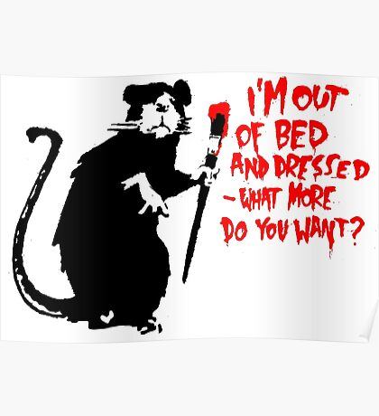 Banksy - Out of Bed Rat Poster