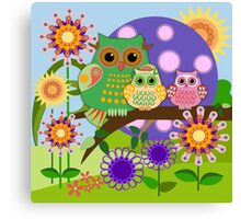 Owl family in a Floral fun environment. Canvas Print