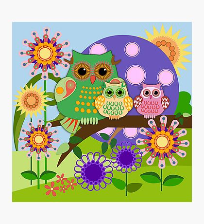 Owl family in a Floral fun environment. Photographic Print
