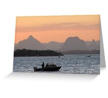 Hoping to Catch a Few!  Sunset Bribie Island, Queensland. Greeting Card