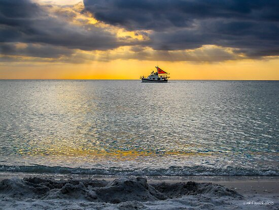 Trawler on a Sunset Sail by Mikell Herrick