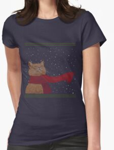 Tabby loves Snow (Knitted-version) Womens Fitted T-Shirt