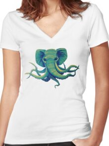 Octophant - Artwork by Minxi Women's Fitted V-Neck T-Shirt