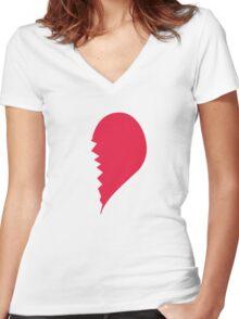 Broken Heart Right Women's Fitted V-Neck T-Shirt