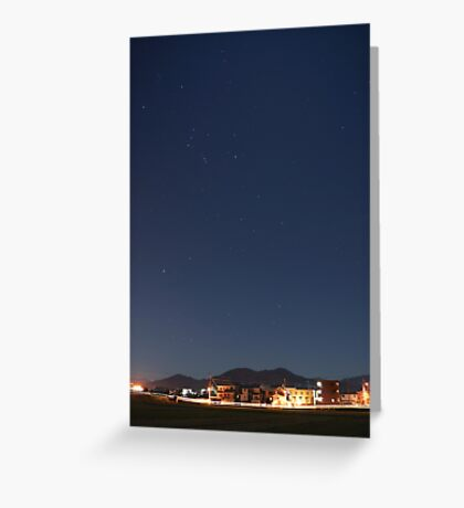 suburb of Fukuoka under the stars Greeting Card
