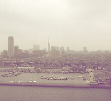 vintage view of Fukuoka, Japan by parisiansamurai