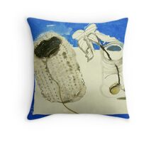 hessian vase and seed sprout in jar Throw Pillow