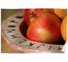 Pomegranates In Decorative Dish Poster