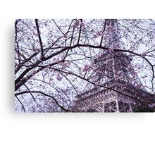 Eiffel Tower through blossom Canvas Print