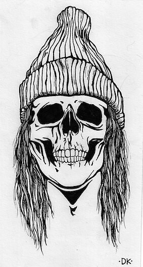 Skull with beanie by deadgoon