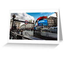 Piccadilly Circus during the day with tourist near the tube Greeting Card