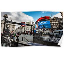 Piccadilly Circus during the day with tourist near the tube Poster
