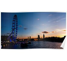 Transition of Sunset London eye and Westminster from Embankment Bridge Poster