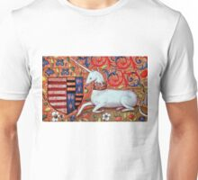 UNICORN WITH RED BLUE FLORAL MOTIFS Unisex T-Shirt