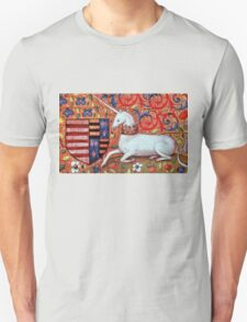 UNICORN WITH RED BLUE FLORAL MOTIFS T-Shirt