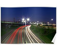 Glasgow Express Way Light Trails Poster