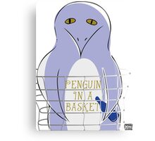 Penguin in a basket Canvas Print