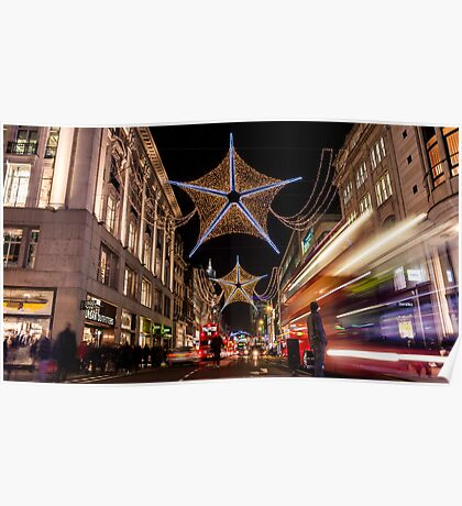 Christmas decoration of Oxford Street Poster