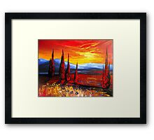 Red Country Sunset Framed Print