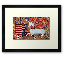 UNICORN WITH RED BLUE FLORAL MOTIFS Framed Print