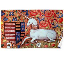 UNICORN WITH RED BLUE FLORAL MOTIFS Poster