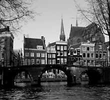 Amsterdam - Canals, Houses & Bridges - B&W by rsangsterkelly