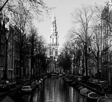 Amsterdam - The Canal Along Groenburgwal - Black & White by rsangsterkelly