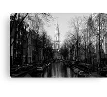 Amsterdam - The Canal Along Groenburgwal - Black & White Canvas Print