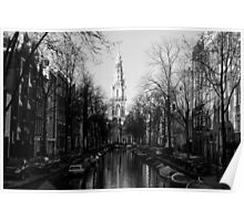 Amsterdam - The Canal Along Groenburgwal - Black & White Poster