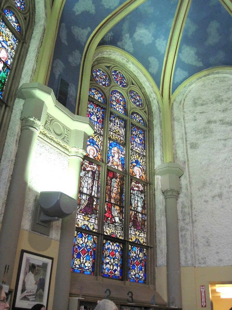 Stained glass, choir loft, St. Mary of Sorrows by Ray Vaughan