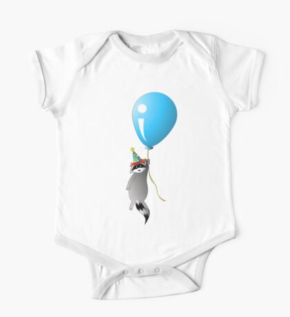 Clown Raccoon with Balloon One Piece - Short Sleeve