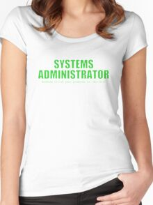 Systems Administrator (Green) Women's Fitted Scoop T-Shirt