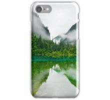 Misty Reflective Lake Surrounded By Hills iPhone Case/Skin