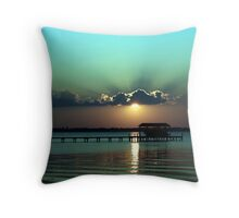 Sunset at the County Dock Throw Pillow