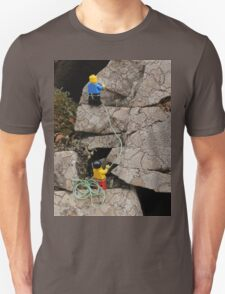 Lego Men Climbing on Lichen Encrusted Rocks T-Shirt