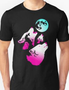 Three Wolves and a Moon Neon T-Shirt