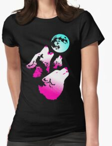 Three Wolves and a Moon Neon Womens Fitted T-Shirt