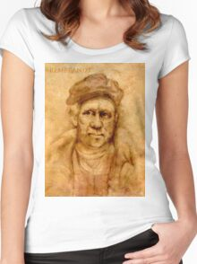 Rembrandt from his self portrait Women's Fitted Scoop T-Shirt