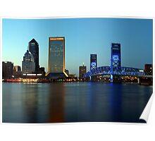 Jacksonville Skyline just before dusk Poster
