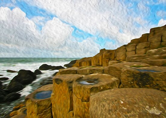 Giants Causeway in oils by SMCK