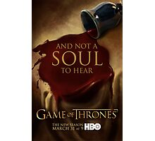 Game of Thrones Season 3 Wine poster Photographic Print