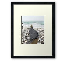 Mom & Babies - Seaside Rock Stack Framed Print