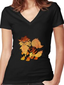 Arcanine Women's Fitted V-Neck T-Shirt