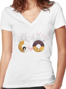 Breakfast in wonderland Women's Fitted V-Neck T-Shirt